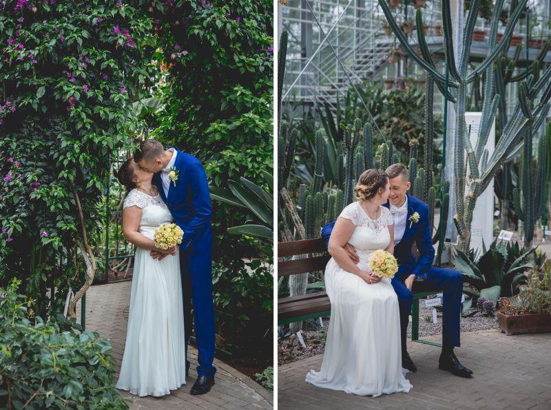 kāzu fotosesija botāniskajā dārzā